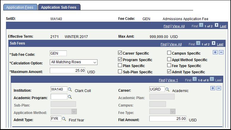 Application Sub Fees tab
