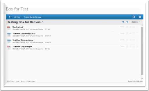 screenshot of box folder embedded in Canvas page.