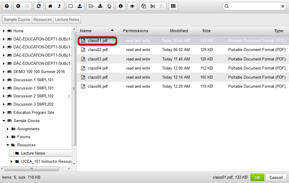 Locate and select the desired file in the file browse window.