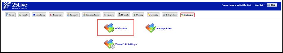 Add a Run using Optimizer
