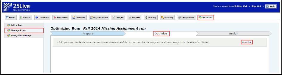 Optimizer Run using Algorithm