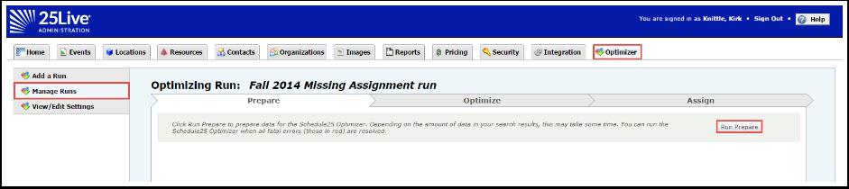 Prepare Optimizer Run