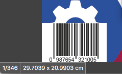 EAN 13 Strichcode jetzt links unten platziert (Ausschnittvergrößerung)