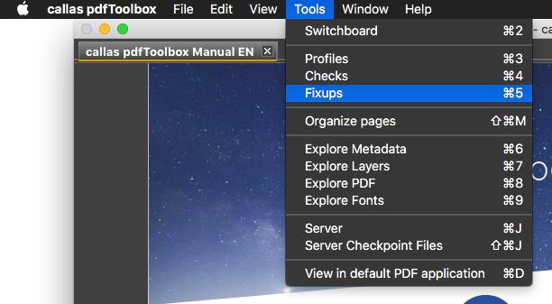 pdfToolbox »Korrekturen«-Fenster öffen
