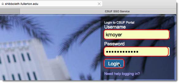 CSUF Portal login webpage