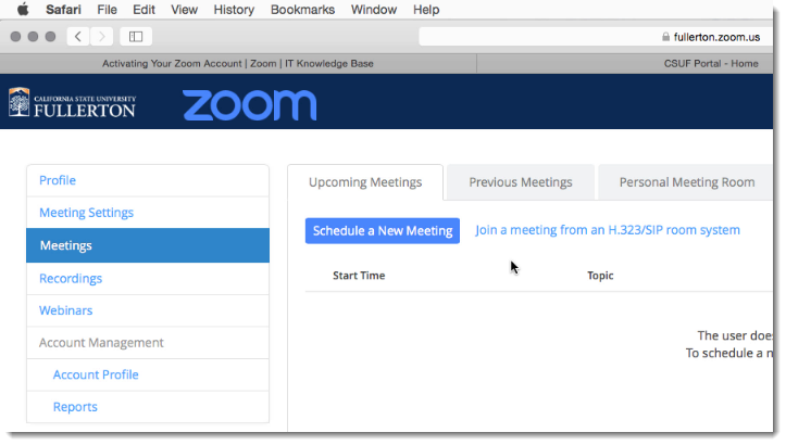 Fullerton Zoom portal displays
