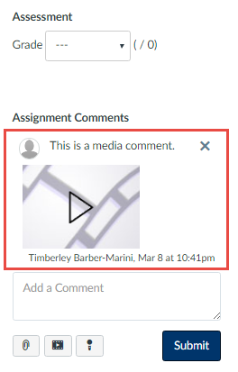 you will then see your media comment