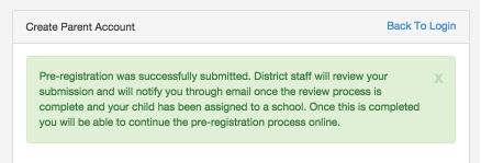 Online Pre-Registration for Parents (Parent Initiated through the