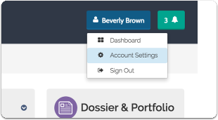 "After logging into Interfolio, click your name in the upper right corner and select ""Account Settings"""