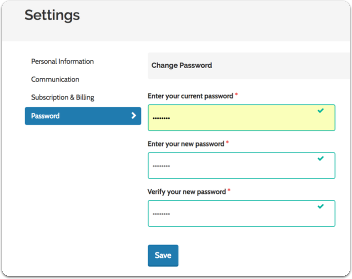 Enter your current password, then enter your new password, and enter the password again to verify a match