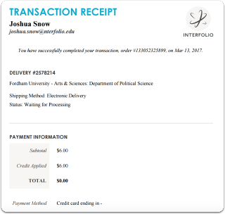 The transaction receipt lists date, delivery number, shipping method, status and payment information