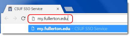 my.fullerton.edu webpage displays