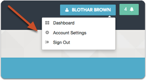 """From any application screen, click your name and select """"Account Settings"""""""