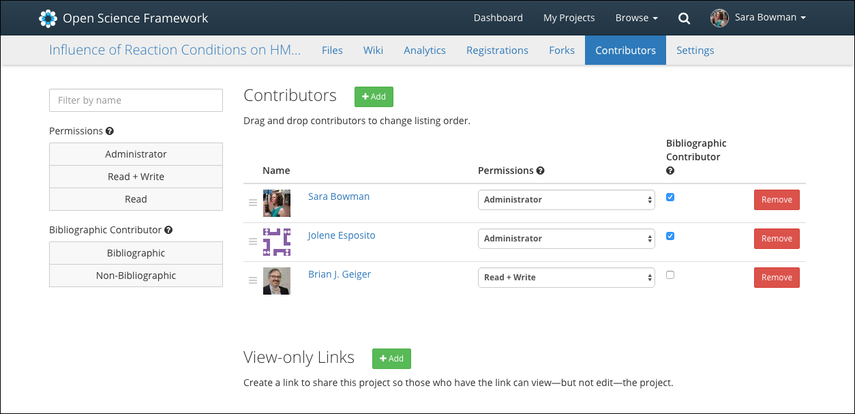 4. Manage permissions and organize contributor lists
