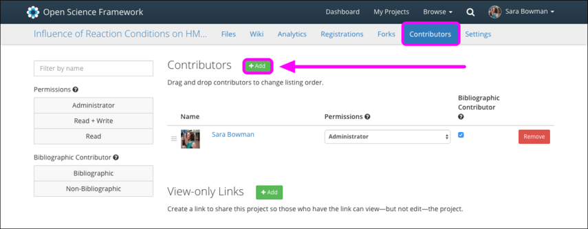 1. Navigate to the Contributors tab