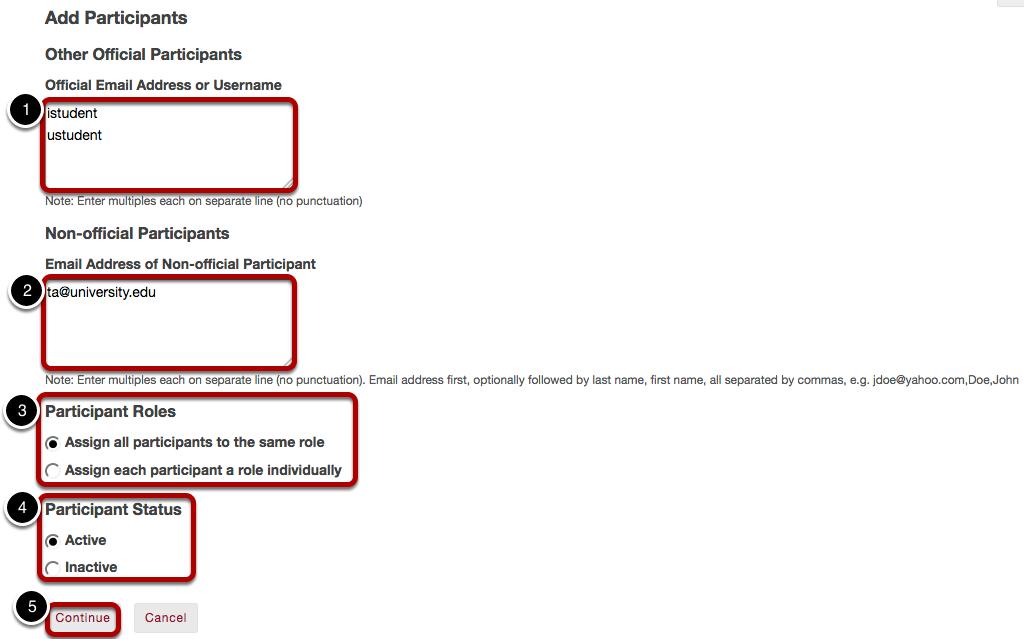 Add participant information.