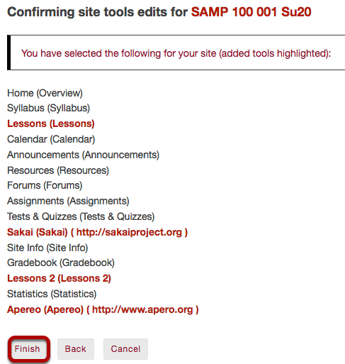 Confirm tool selection.