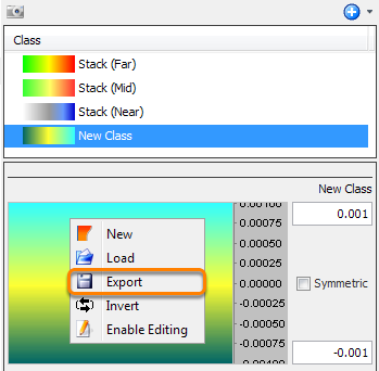 Select colourbar to be exported