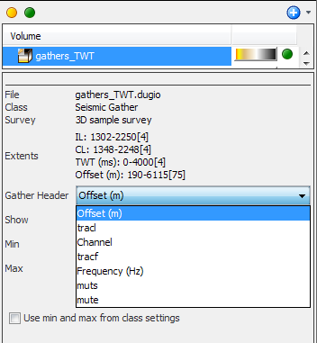Gather volume display settings