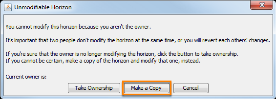 Copy a horizon during attempt to edit a horizon which you are not an owner
