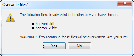 Continue export and overwrite files or cancel export