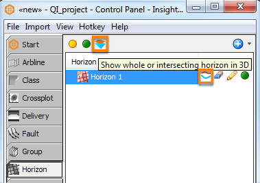 Change the display mode for horizons added in a session in the 3D View