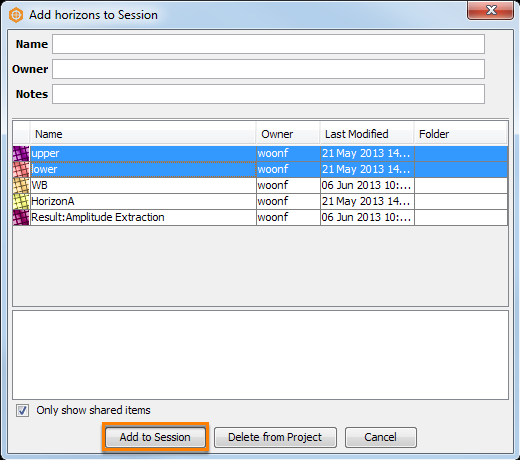 Select the horizons to be added to session