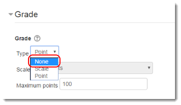 Select None for grade Type if you do not want to have a gradebook column