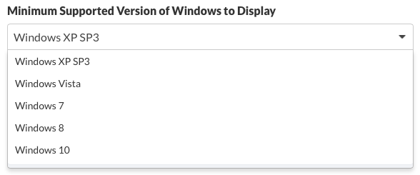 Minimum Support Version of Windowsto Display
