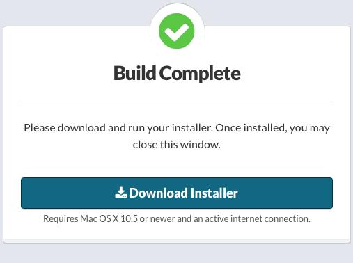 Build Complete: no alternative download