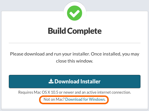Build Complete: Alternative Link