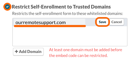 Restrict Self-Enrollment to Trusted Domains
