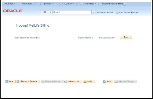 Inbound MetLife Billing page