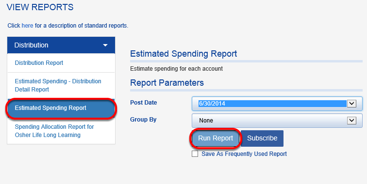 Click on ESTIMATED SPENDING REPORT and RUN REPORT.