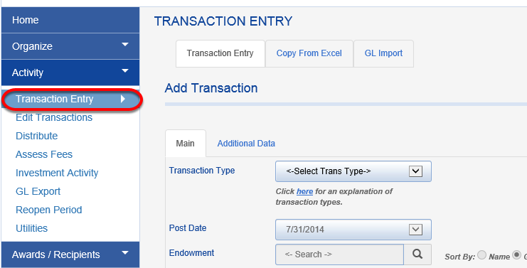Click on ACTIVITY > TRANSACTION ENTRY.