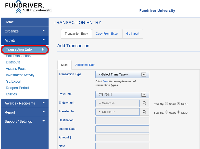 Manual Method:  To enter spending/income distributions manually, go to ACTIVITY > TRANSACTION ENTRY.