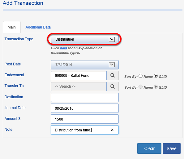 Choose the TRANSACTION TYPE of DISTRIBUTION and enter amount and any other information you would like available on the transaction record.