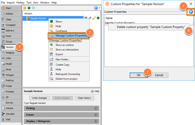 Manage custom properties of horizon
