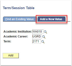 Term/Session Table Add a New Value tab