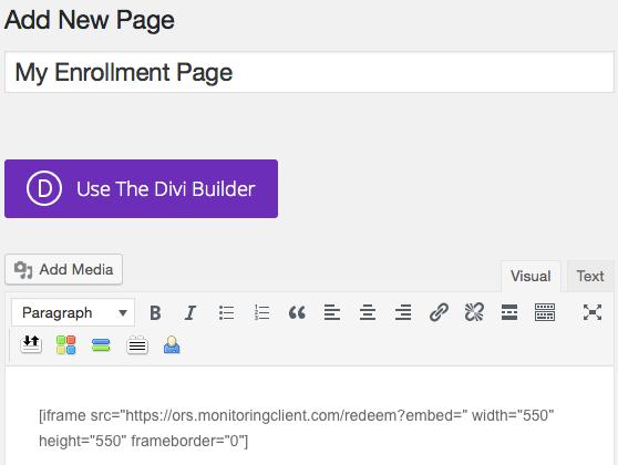 Embedding an enrollment iframe on a WordPress site