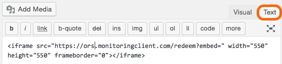 Embed at html text on WordPress Page.