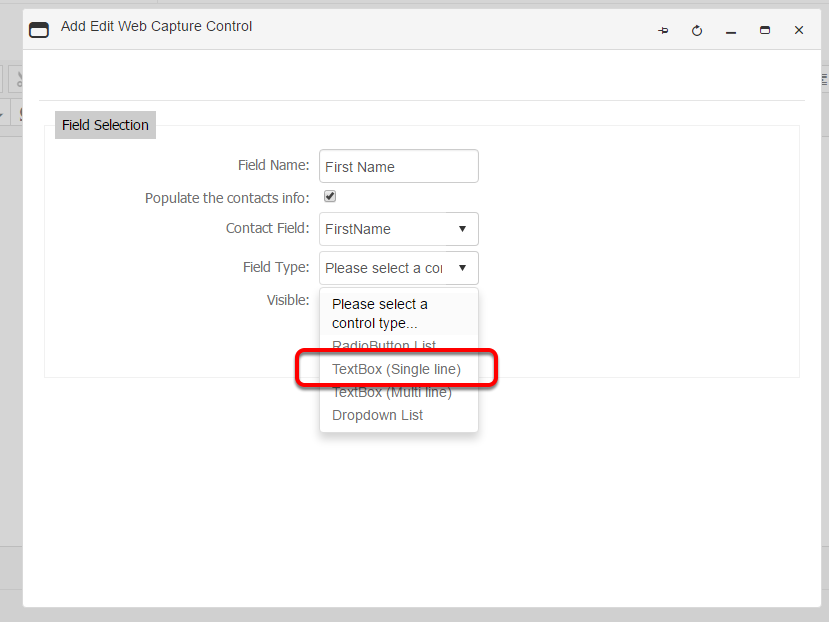 Select the field type for your web capture control