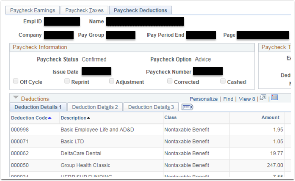 Paycheck Deductions tab