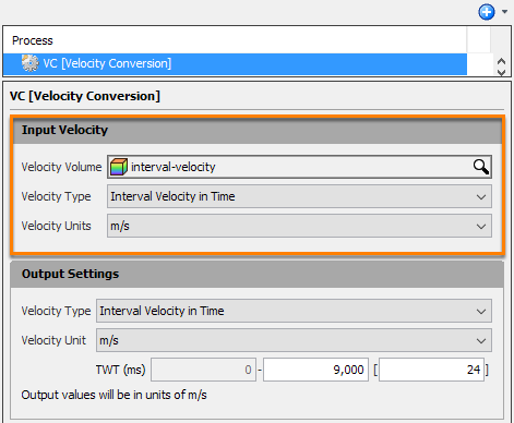 Select input velocity to be converted