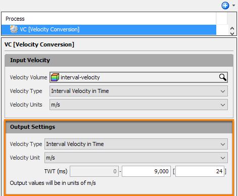 Define output velocity settings