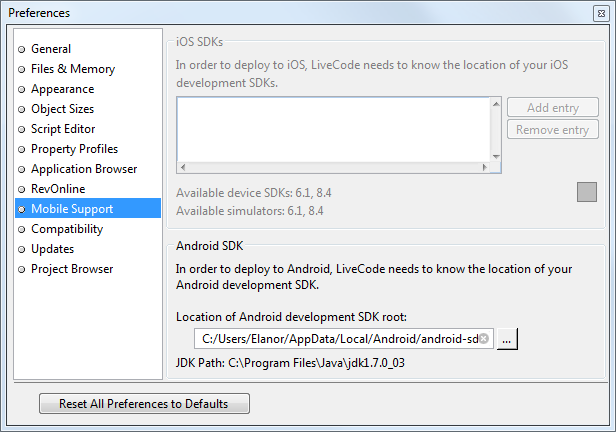 Configuring LiveCode for Android Support