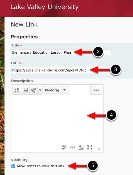 Step 2: Enter Link Properties