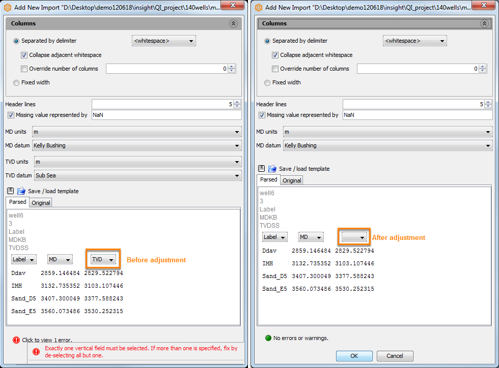 Configure import parameters for markers file