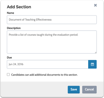 Enter the name, description, and due date for the packet section, and indicate whether or not candidates can add additional documents to the section