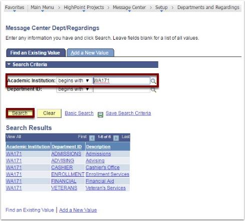 Message Center Dept/Regardings Search Criteria section